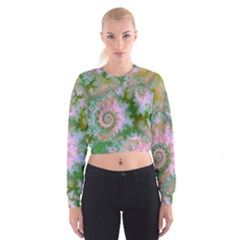 Rose Forest Green, Abstract Swirl Dance Women s Cropped Sweatshirt