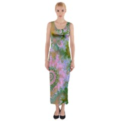 Rose Forest Green, Abstract Swirl Dance Fitted Maxi Dress