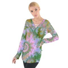 Rose Forest Green, Abstract Swirl Dance Women s Tie Up Tee