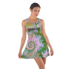 Rose Forest Green, Abstract Swirl Dance Racerback Dresses