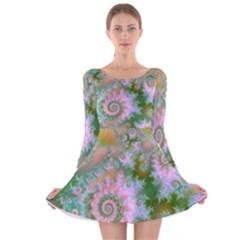 Rose Forest Green, Abstract Swirl Dance Long Sleeve Velvet Skater Dress