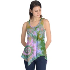 Rose Forest Green, Abstract Swirl Dance Sleeveless Tunic