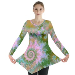 Rose Forest Green, Abstract Swirl Dance Long Sleeve Tunic