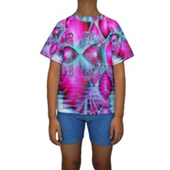 Ruby Red Crystal Palace, Abstract Jewels Kid s Short Sleeve Swimwear