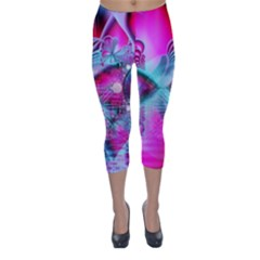 Ruby Red Crystal Palace, Abstract Jewels Capri Winter Leggings