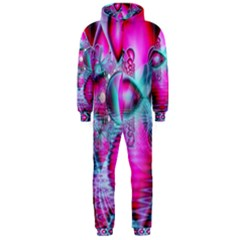 Ruby Red Crystal Palace, Abstract Jewels Hooded Jumpsuit (men)
