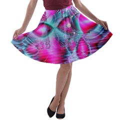 Ruby Red Crystal Palace, Abstract Jewels A-line Skater Skirt