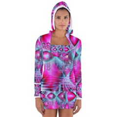 Ruby Red Crystal Palace, Abstract Jewels Women s Long Sleeve Hooded T Shirt