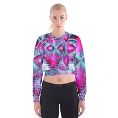 Ruby Red Crystal Palace, Abstract Jewels Women s Cropped Sweatshirt