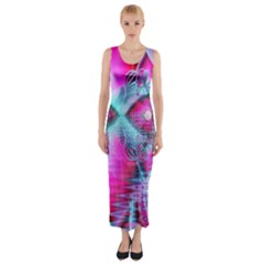 Ruby Red Crystal Palace, Abstract Jewels Fitted Maxi Dress