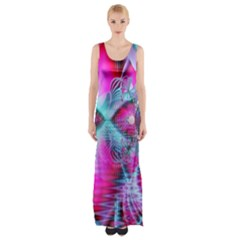 Ruby Red Crystal Palace, Abstract Jewels Maxi Thigh Split Dress