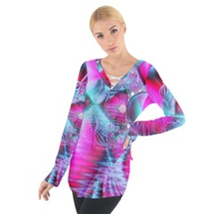 Ruby Red Crystal Palace, Abstract Jewels Women s Tie Up Tee