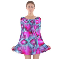 Ruby Red Crystal Palace, Abstract Jewels Long Sleeve Velvet Skater Dress