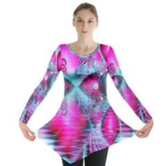 Ruby Red Crystal Palace, Abstract Jewels Long Sleeve Tunic