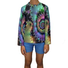 Satin Rainbow, Spiral Curves Through the Cosmos Kid s Long Sleeve Swimwear