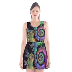 Satin Rainbow, Spiral Curves Through the Cosmos Scoop Neck Skater Dress