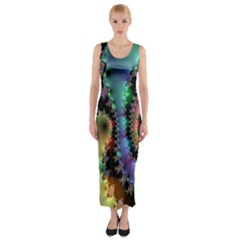 Satin Rainbow, Spiral Curves Through The Cosmos Fitted Maxi Dress