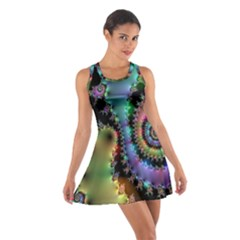 Satin Rainbow, Spiral Curves Through the Cosmos Racerback Dresses
