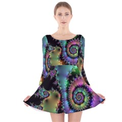 Satin Rainbow, Spiral Curves Through the Cosmos Long Sleeve Velvet Skater Dress