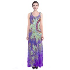 Sea Shell Spiral, Abstract Violet Cyan Stars Full Print Maxi Dress