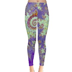 Sea Shell Spiral, Abstract Violet Cyan Stars Winter Leggings