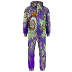 Sea Shell Spiral, Abstract Violet Cyan Stars Hooded Jumpsuit (men)