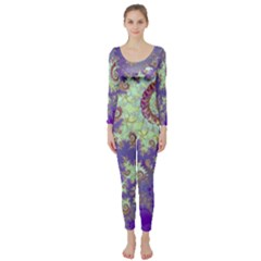 Sea Shell Spiral, Abstract Violet Cyan Stars Long Sleeve Catsuit