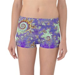 Sea Shell Spiral, Abstract Violet Cyan Stars Reversible Boyleg Bikini Bottoms