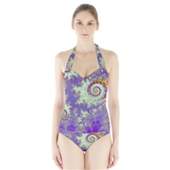 Sea Shell Spiral, Abstract Violet Cyan Stars Women s Halter One Piece Swimsuit