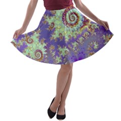 Sea Shell Spiral, Abstract Violet Cyan Stars A Line Skater Skirt