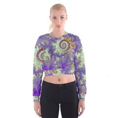 Sea Shell Spiral, Abstract Violet Cyan Stars Women s Cropped Sweatshirt