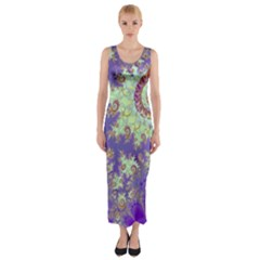 Sea Shell Spiral, Abstract Violet Cyan Stars Fitted Maxi Dress