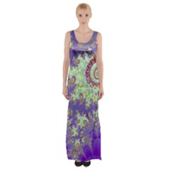 Sea Shell Spiral, Abstract Violet Cyan Stars Maxi Thigh Split Dress