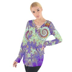 Sea Shell Spiral, Abstract Violet Cyan Stars Women s Tie Up Tee