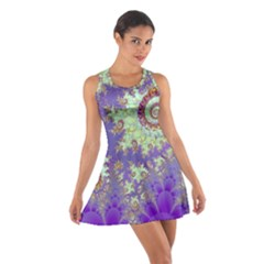 Sea Shell Spiral, Abstract Violet Cyan Stars Racerback Dresses