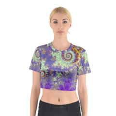 Sea Shell Spiral, Abstract Violet Cyan Stars Cotton Crop Top