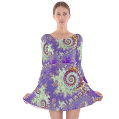 Sea Shell Spiral, Abstract Violet Cyan Stars Long Sleeve Velvet Skater Dress