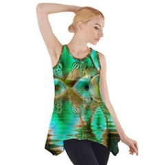 Spring Leaves, Abstract Crystal Flower Garden Side Drop Tank Tunic