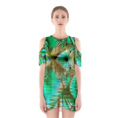 Spring Leaves, Abstract Crystal Flower Garden Cutout Shoulder Dress