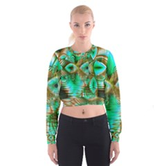 Spring Leaves, Abstract Crystal Flower Garden Women s Cropped Sweatshirt