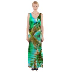 Spring Leaves, Abstract Crystal Flower Garden Maxi Thigh Split Dress