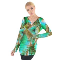 Spring Leaves, Abstract Crystal Flower Garden Women s Tie Up Tee