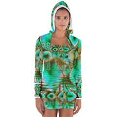Spring Leaves, Abstract Crystal Flower Garden Women s Long Sleeve Hooded T Shirt