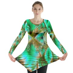 Spring Leaves, Abstract Crystal Flower Garden Long Sleeve Tunic