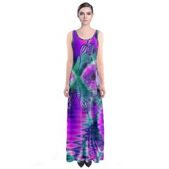 Teal Violet Crystal Palace, Abstract Cosmic Heart Full Print Maxi Dress