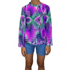 Teal Violet Crystal Palace, Abstract Cosmic Heart Kid s Long Sleeve Swimwear