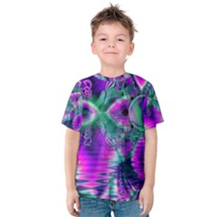 Teal Violet Crystal Palace, Abstract Cosmic Heart Kid s Cotton Tee