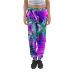 Teal Violet Crystal Palace, Abstract Cosmic Heart Women s Jogger Sweatpants