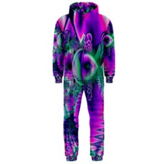 Teal Violet Crystal Palace, Abstract Cosmic Heart Hooded Jumpsuit (men)