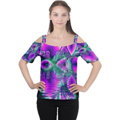 Teal Violet Crystal Palace, Abstract Cosmic Heart Women s Cutout Shoulder Tee